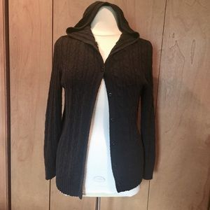 Sz 18/20 Lane Bryant black cable knit sweater hood